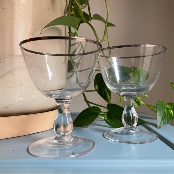 coupe glasses w silver trim